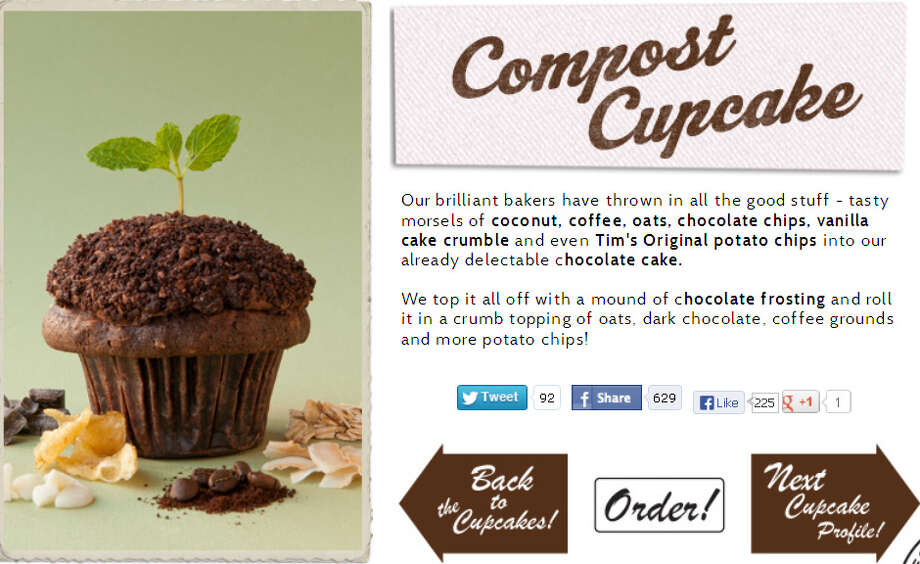 "Cupcake Royale's ""Compost Cupcake"": This seasonal oddball comes out for April in honor of Earth Day. It's chocolate cake with coconut, coffee, oats, chocolate chips, vanilla cake crumb and Tim's Original potato chips, topped with chocolate frosting and more potato chips. Nom, nom, crunch, crunch."