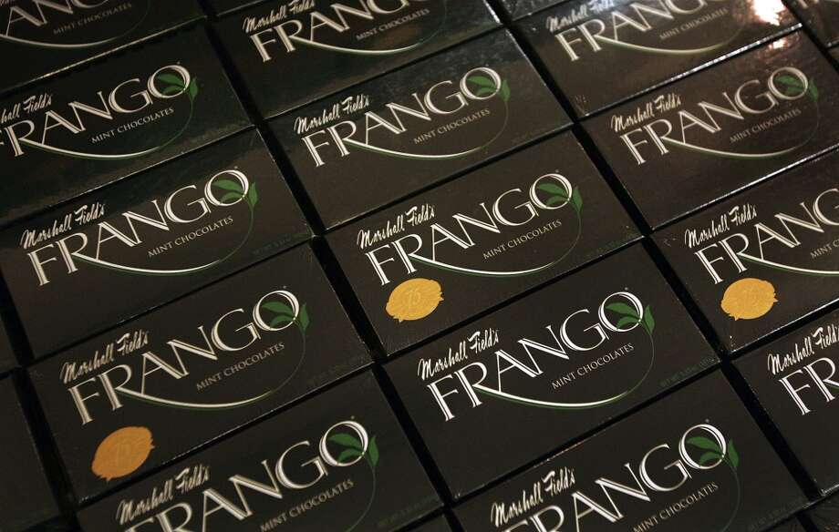 Why does the Midwest claim Frangos? Because Chicago store Marshall Field's bought F&N in 1929 and made the candies for decades. But their chocolates came in a boring, flat box. Ours came in a distinctive hexagon.