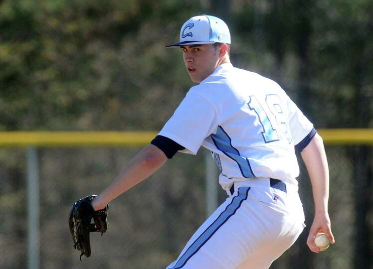 Columbia's Travis Soward pitches during their boy's high school baseball game against Shenendehowa o