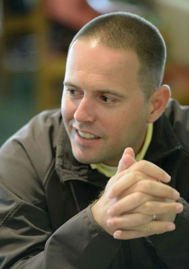 Chad Brown is all smiles at the Post Position Draw as he is interviewed by media at Belmont Park in Elmont, N.Y. June 6, 2012.  PLEASE HOLD FOR SINGLAIS FEATURE TO RUN LATER IN THE WEEK  (Skip Dickstein / Times Union) Photo: SKIP DICKSTEIN