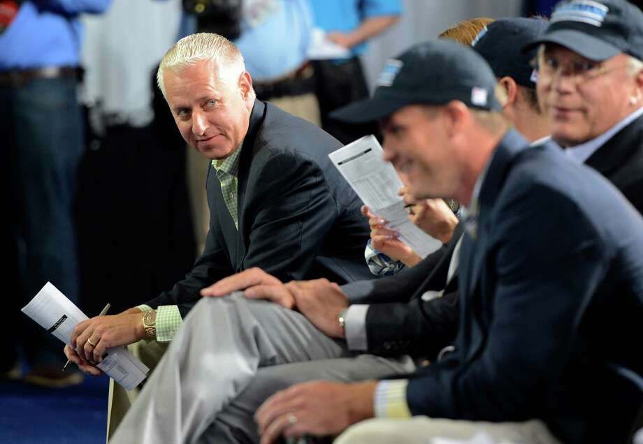 Todd Pletcher, trainer of morning line second favorite Verranzano is is all smiles during the post position draw May 1, 2013,  for the 139th running of The Kentucky Derby at Churchill Downs in Louisville, KY.    (Skip Dickstein/Times Union) Photo: SKIP DICKSTEIN
