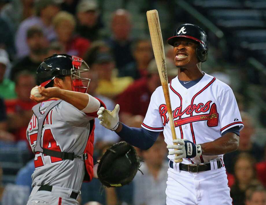 The Nationals' Jordan Zimmermann has been leaving batters frustrated, including the Braves' B.J. Upton. Photo: CURTIS COMPTON, MBR / Atlanta Journal-Constitution