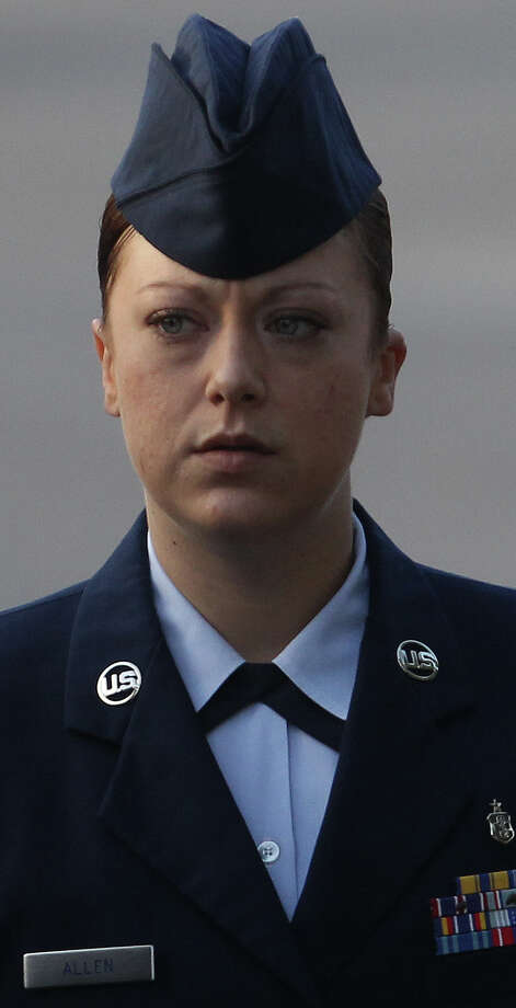 May 2, 2013: Staff Sgt. Emily Allen, who pleaded guilty to having sex with a recruit, was sentenced to three months in jail, 30 days' hard labor and reduced to airman first class. The Air Force could move to discharge her after she is released from jail. Read more: Female Lackland trainer gets jail sentence Photo: SAN ANTONIO EXPRESS-NEWS / ©San Antonio Express-News/Photo may be sold to the public