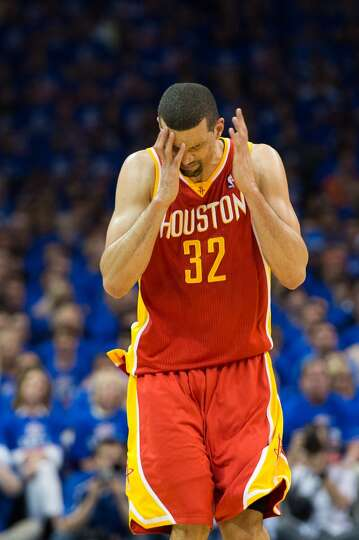 Rockets shooting guard Francisco Garcia reacts after missing a shot.