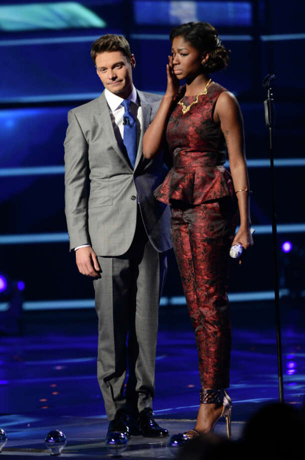 AMERICAN IDOL: L-R: Ryan Seacrest and Amber Holcomb on AMERICAN IDOL Wednesday, May 1 (8:00-10:00 PM ET/PT) on FOX. CR: Michael Becker/ FOX. Copyright: FOX.