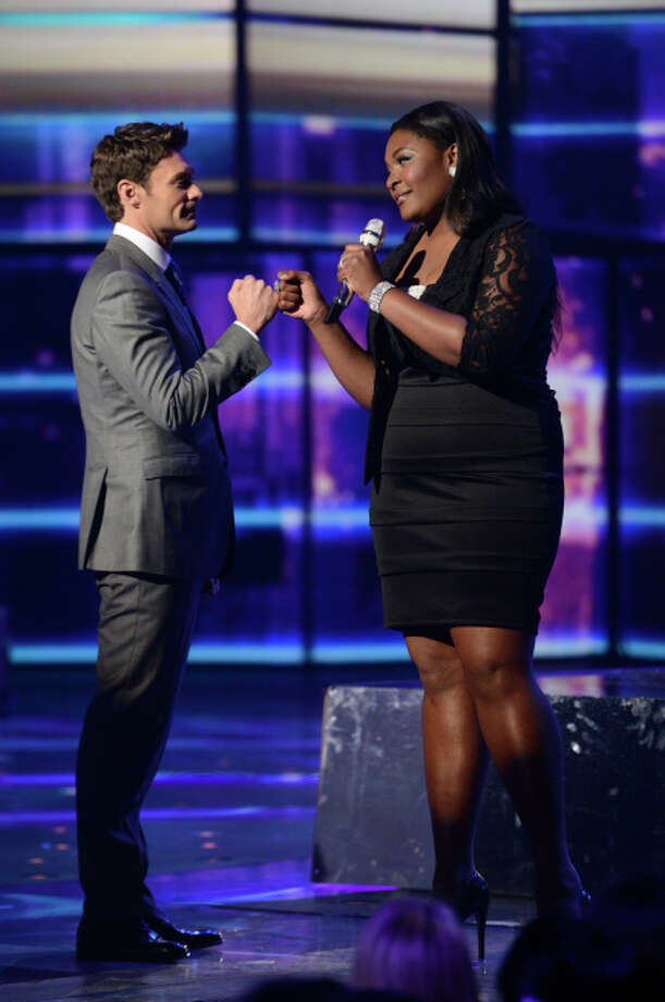 AMERICAN IDOL: L-R: Ryan Seacrest and Candice Glover on AMERICAN IDOL Wednesday, May 1 (8:00-10:00 PM ET/PT) on FOX. CR: Michael Becker/ FOX. Copyright: FOX.