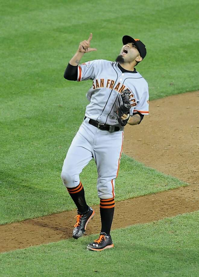 PHOENIX, AZ - MAY 01:  Sergio Romo #54 of the San Francisco Giants celebrates his 11th save against the Arizona Diamondbacks at Chase Field on May 1, 2013 in Phoenix, Arizona. Giants won 9-6. (Photo by Norm Hall/Getty Images) Photo: Norm Hall, Getty Images