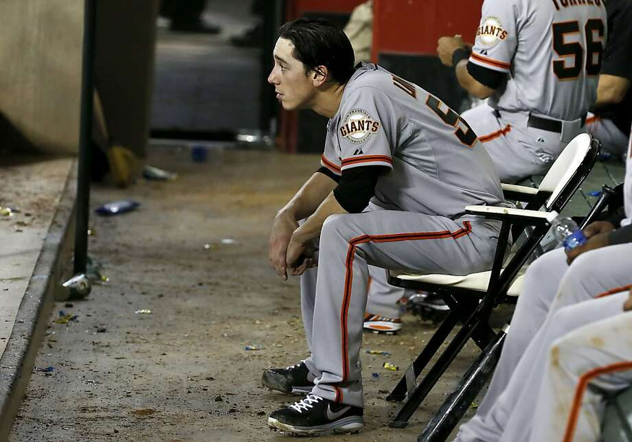 San Francisco Giants' Tim Lincecum sits in the dugout during the sixth inning of a baseball game against the Arizona Diamondbacks on Wednesday, May 1, 2013, in Phoenix. (AP Photo/Ross D. Franklin) Photo: Ross D. Franklin, Associated Press
