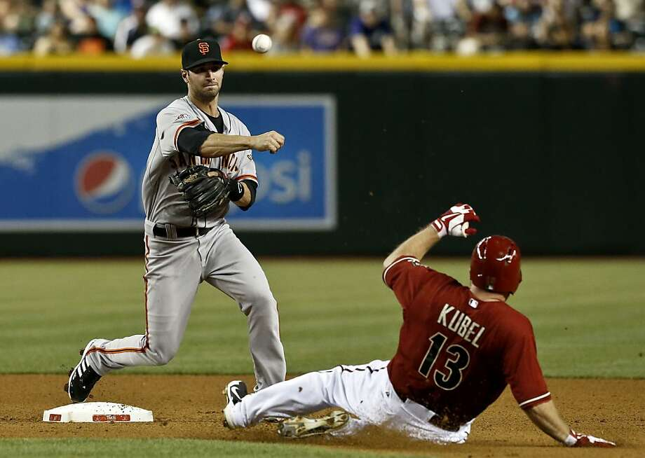 San Francisco Giants' Nick Noonan, left, forces out Arizona Diamondbacks' Jason Kubel (13) during the seventh inning of a baseball game, on Wednesday, May 1, 2013, in Phoenix. (AP Photo/Ross D. Franklin) Photo: Ross D. Franklin, Associated Press