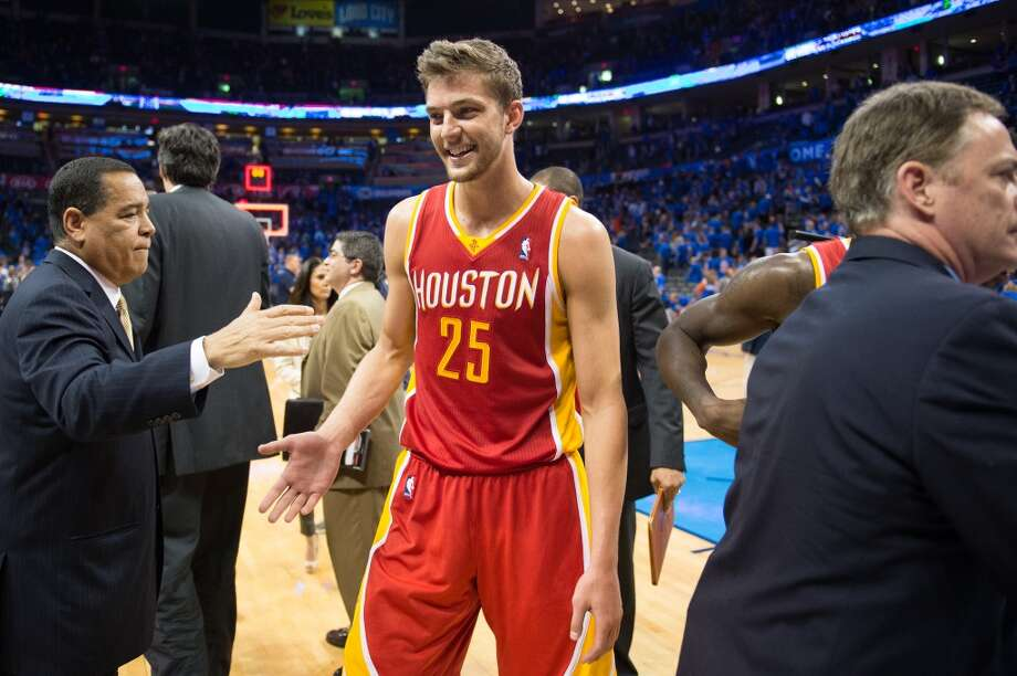 Rockets small forward Chandler Parsons smiles as he leaves the court after the Game 5 win. Photo: Smiley N. Pool, Houston Chronicle