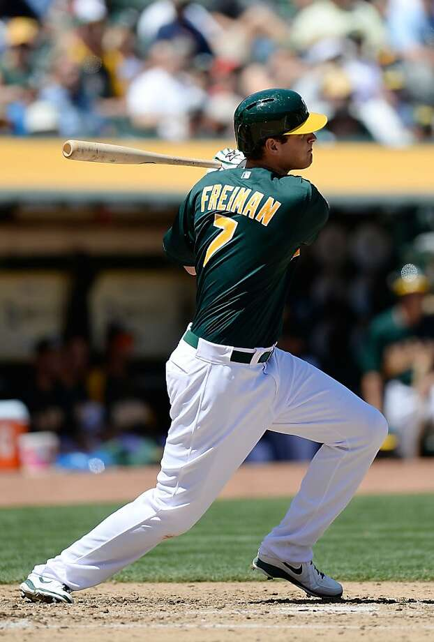OAKLAND, CA - MAY 01:  Nate Freiman #7 of the Oakland Athletics hits an RBI double, scoring Josh Donaldson #20 against the Los Angeles Angels of Anaheim in the third inning at O.co Coliseum on May 1, 2013 in Oakland, California.  (Photo by Thearon W. Henderson/Getty Images) Photo: Thearon W. Henderson, Getty Images