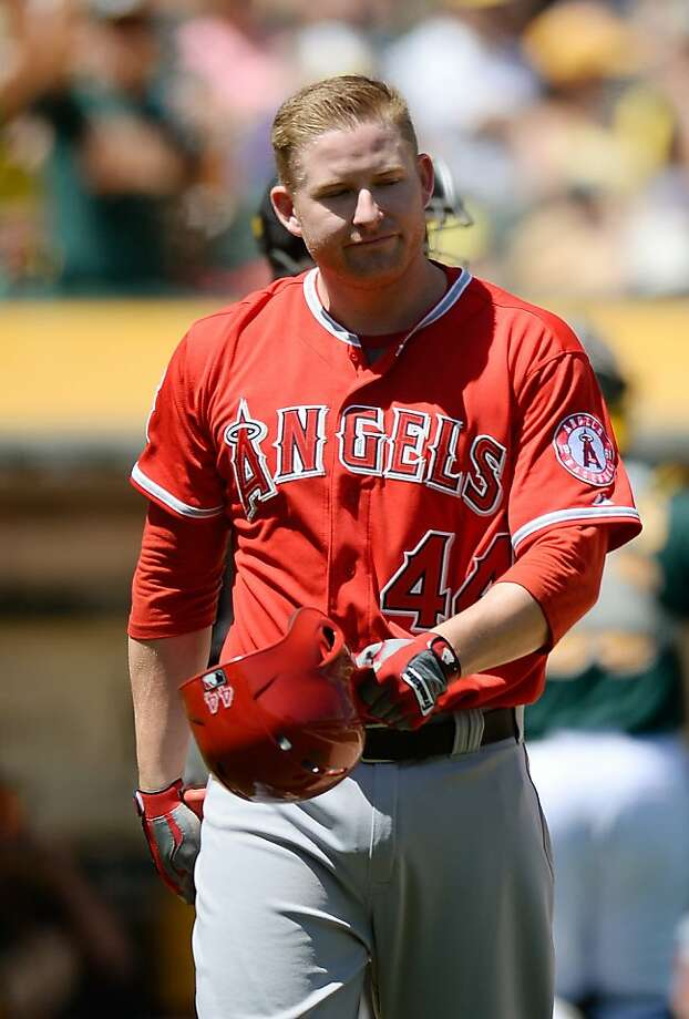 OAKLAND, CA - MAY 01:  Mark Trumbo #44 of the Los Angeles Angels of Anaheim reacts after striking out against the Oakland Athletics in the fourth inning at O.co Coliseum on May 1, 2013 in Oakland, California.  (Photo by Thearon W. Henderson/Getty Images) Photo: Thearon W. Henderson, Getty Images