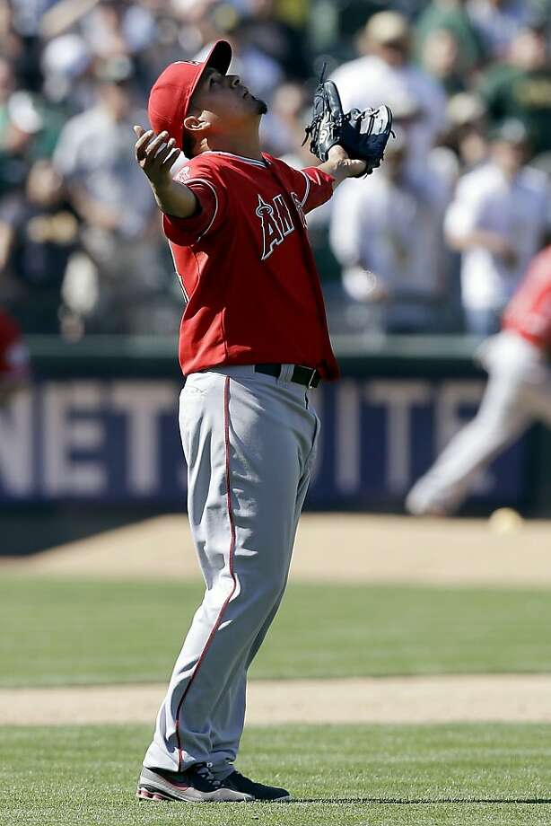 Los Angeles Angels pitcher Ernesto Frieri celebrates after the final out of a baseball game against the Oakland Athletics in Oakland, Calif., Wednesday, May 1, 2013. The Angels won 5-4. (AP Photo/Jeff Chiu) Photo: Jeff Chiu, Associated Press