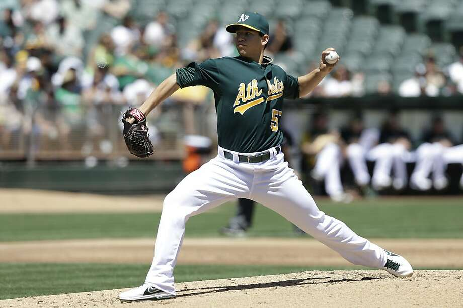 Oakland Athletics pitcher Tommy Milone (57) delivers against the Los Angeles Angels during the second inning of a baseball game in Oakland, Calif., Wednesday, May 1, 2013. (AP Photo/Jeff Chiu) Photo: Jeff Chiu, Associated Press