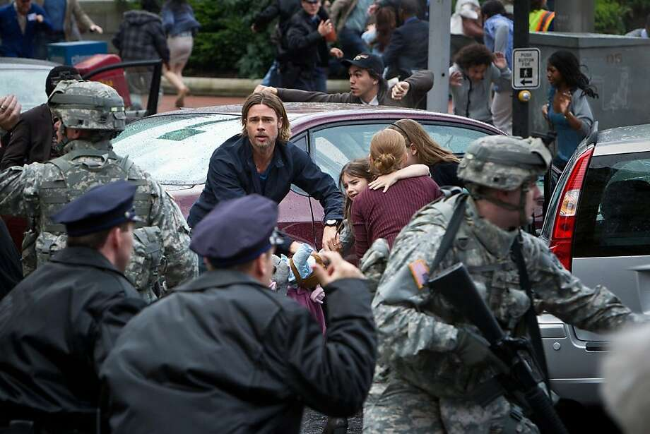 """""""World War Z"""" stars Brad Pitt, who has a lot riding on the film. Photo: Paramount Pictures 2013"""