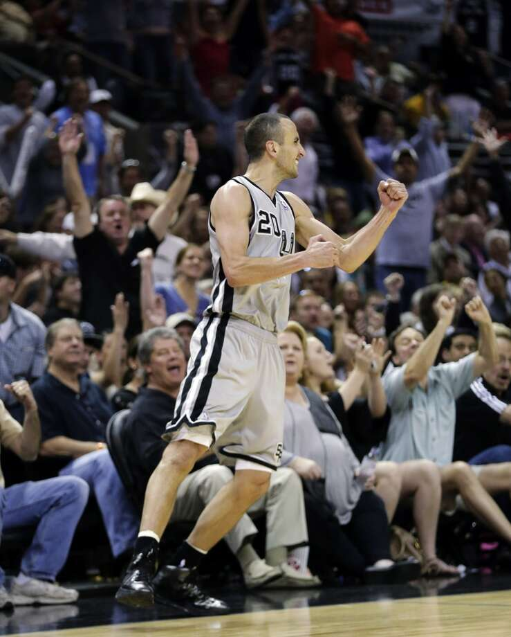 San Antonio Spurs' Manu Ginobili (20), of Argentina, reacts after hitting a 3-pointer against the Los Angeles Lakers during the second half of Game 1 of their first-round NBA basketball playoff series, Sunday, April 21, 2013, in San Antonio. San Antonio won 91-79.