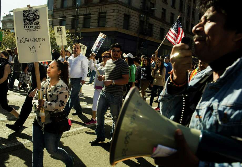 Thousands of marchers proceeded through downtown Seattle. Photo: JORDAN STEAD, SEATTLEPI.COM / SEATTLEPI.COM
