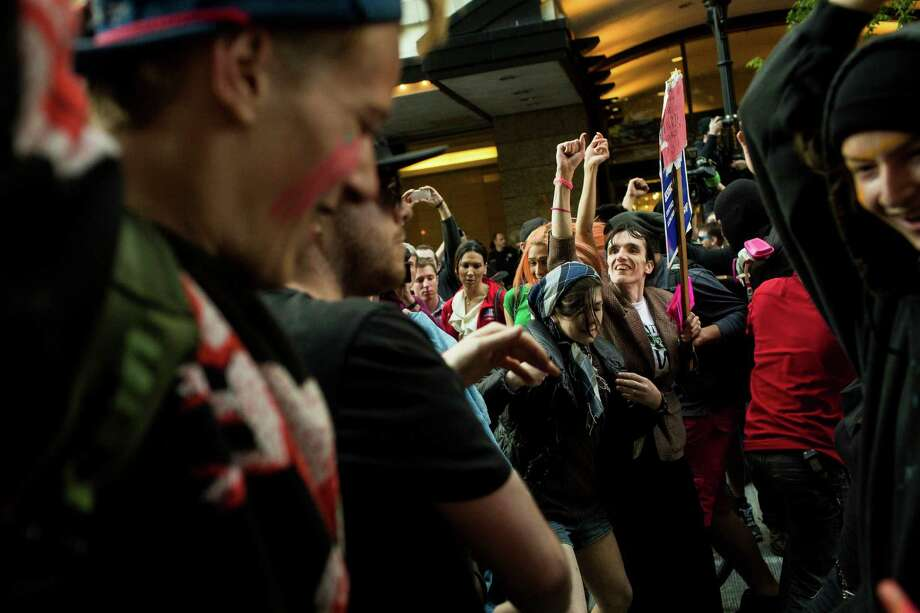 Protesters stopped traffic for a dance party during the May Day march. Photo: JORDAN STEAD, SEATTLEPI.COM / SEATTLEPI.COM