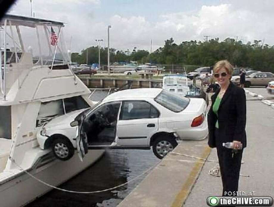 Someone forgot to exit her car before boarding the boat. Photo by The Chive.com via The Throttle.com