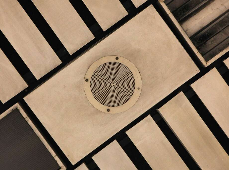 Closeup of one of the overhead speakers at the Civic Center Metro station in San Francisco, California,  on Tuesday, April 30, 2013.