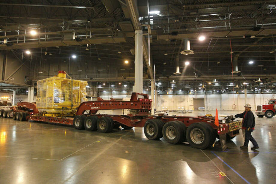FMC Technologies moved its 118,000-pound subsea tree into the Reliant Center last week for display during the Offshore Technology Conference. OTC, which will run May 6 to May 9, attracts more than 80,000 attendees from more than 110 countries. Subsea trees are structures that control the flow of oil and gas to and from the subsea well.