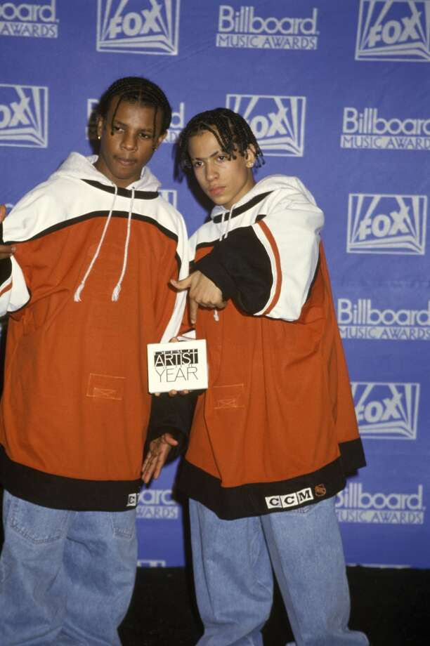 American rap duo Kriss Kross posed at the Billboard Music Awards in Los Angeles in 1992. (Photo by Martina Raddatz/Redferns)