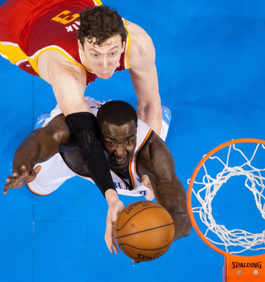 May 1: Rockets 107, Thunder 100Rockets center Omer Asik fights for a rebound against Thunder center Kendrick Perkins.  Asik had 21 points for the Rockets, to go with 11 rebounds, and was 13-of-18 from the free-throw line.Thunder lead best-of-seven series 3-2