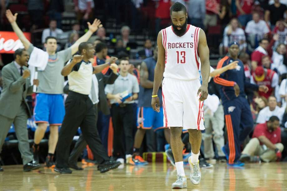 April 27: Thunder 104, Rockets 101James Harden walks off the court after the loss at Toyota Center. Thunder lead best-of-seven series 3-0
