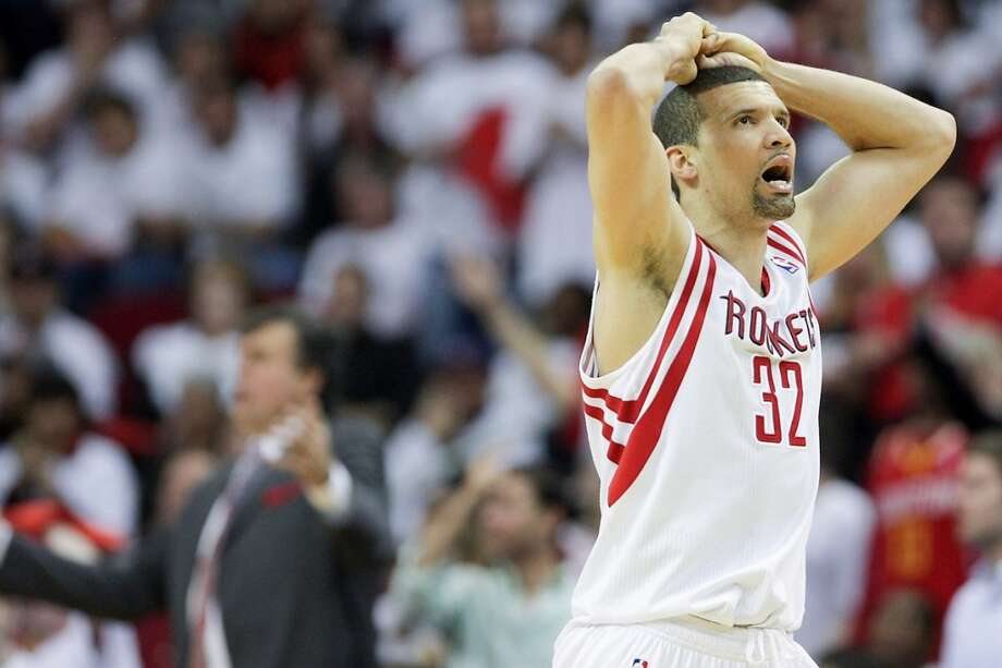 Rockets guard Francisco Garcia reacts after being called for a foul during the second half.