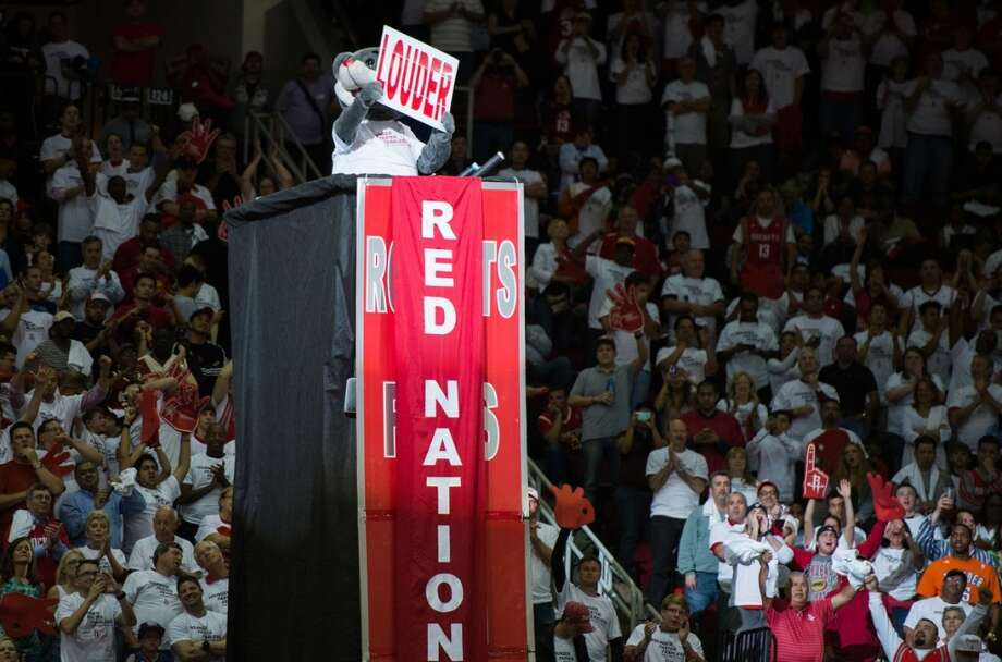 Rockets mascot Clutch fires up the crowd.