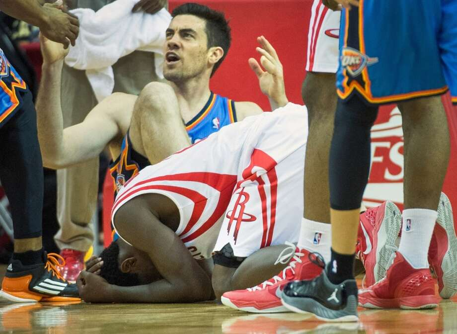 Rockets point guard Patrick Beverley reacts after being called for a foul on Thunder power forward Nick Collison.