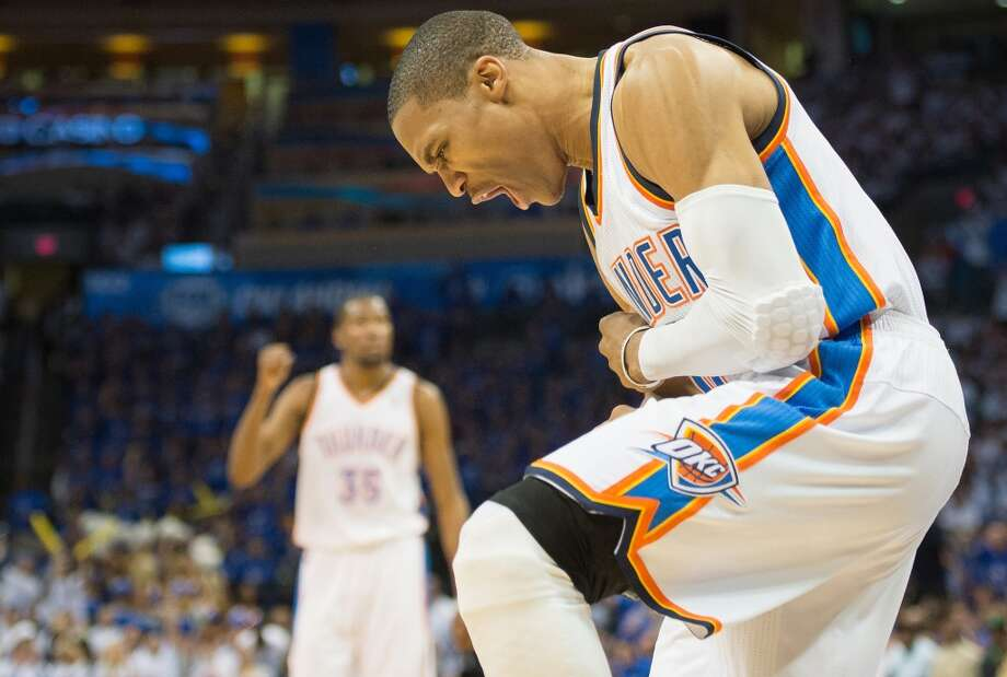 Thunder point guard Russell Westbrook celebrates after making a basket.  Westbrook scored 29 points in the victory.