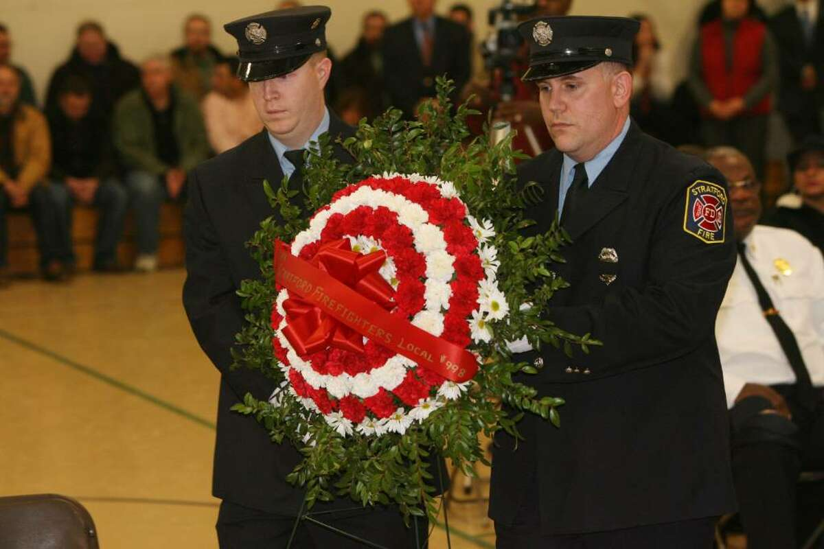 Stratford K9 Officer Zak is memorialized in a service at the Birdseye Municipal Complex on Friday, Jan. 8, 2010. His partner was Officer Thomas Clements. Stratford Fire, Police and K-9 partners from all over the state attended the service.