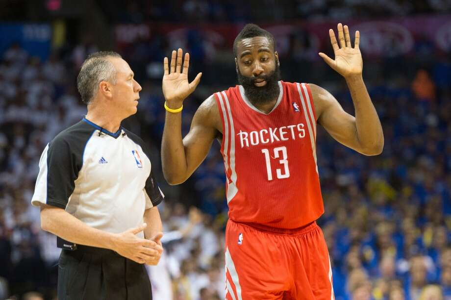 Rockets shooting guard James Harden argues with a referee during the second half.