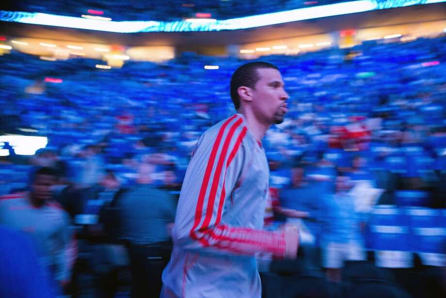Rockets guard Francisco Garcia takes the court before the game.