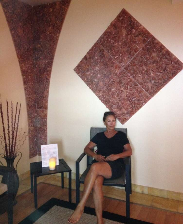 Ho'ola Spa clients relax in its salt room for 30 minutes at a time, breathing in extremely fine salt particles produced by a halotherapy salt generator, which is believed to  cleanse the lungs of 'bacteria, irritants and pollution and reduces inflammation of the respiratory tract,' according to the spa. 'Salt therapy also supports the look and health of skin.'