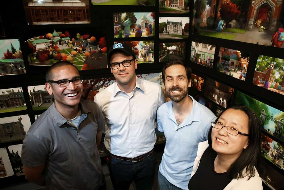 "The team creative behind ""Monsters University"" includes production designer Ricky Nierva (left), production manager David Park, story supervisor Kelsey Mann and simulation supervisor Christine Waggoner. Photo: Carlos Avila Gonzalez, The Chronicle"