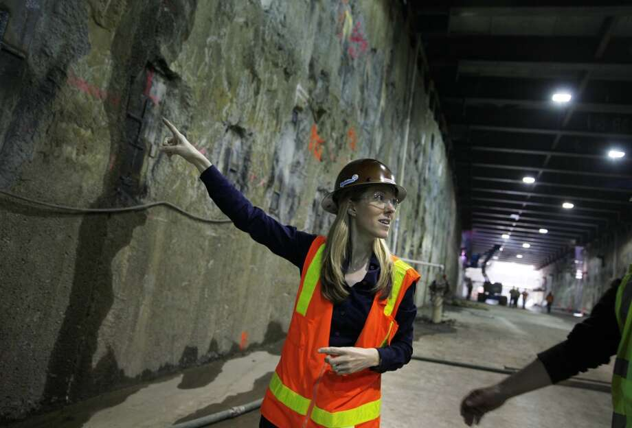 Sarah Wilson, Central Subway resident engineer, talks with the media as she walks through the launch box on Friday, April 19, 2013 in San Francisco, Calif.