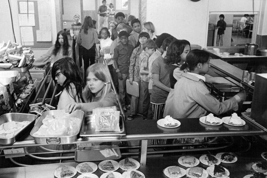 Gove Junior High School; Gove Students Jam into a Crowded Cafeteria; Gove has six lunch periods a day so its students can be accommodated in small lunchroom.; 1971 (Photo By Bill Peters/The Denver Post via Getty Images)