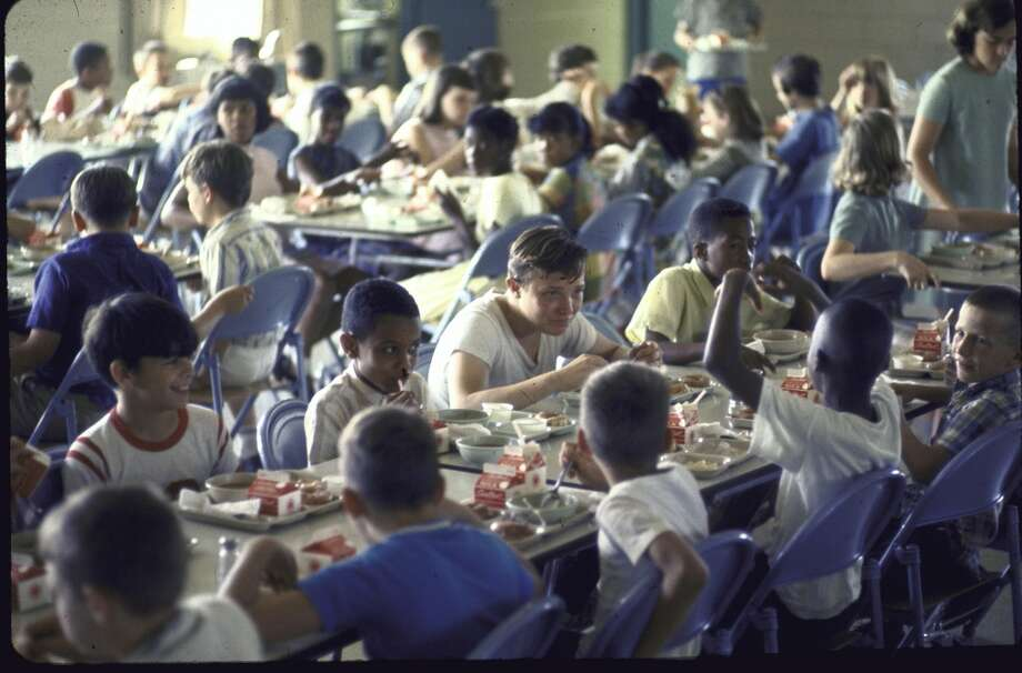At the integrated Richards School, students having lunch in cafeteria, 1967.  (Photo by Bill Eppridge//Time Life Pictures/Getty Images)