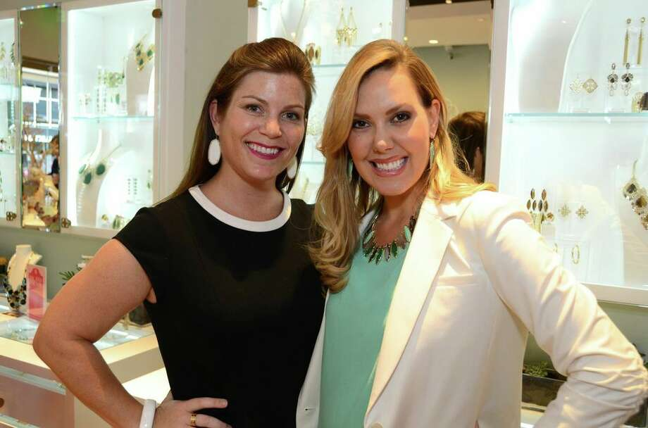 Lauren Levicki and jewelry designer Kendra Scott at WOW's shopping event at Kendra Scott in Rice Village.