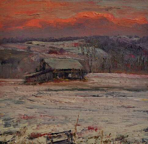 "Harry Orlyk's ""Barn Under a Red Sky"" (Courtesy Laffer Gallery)"