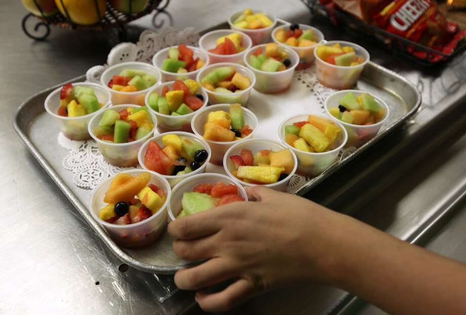 Braintree High School freshman have the campus to themselves on the first day of school, on Wednesday, September 1, 2010.  According to Braintree food service director Megan Aardema, the lunch features healthier choices, ahead of the two-year deadline to comply with a new state nutrition law.       (Photo by Pat Greenhouse/The Boston Globe via Getty Images)