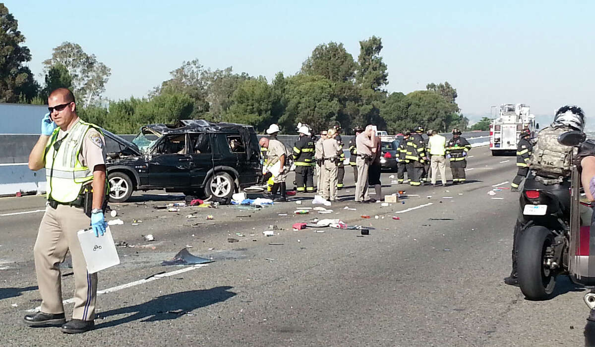 One man died and two other people were hospitalized Thursday after their sport utility vehicle rolled over in a crash that blocked all westbound lanes of Interstate 580 in Livermore.