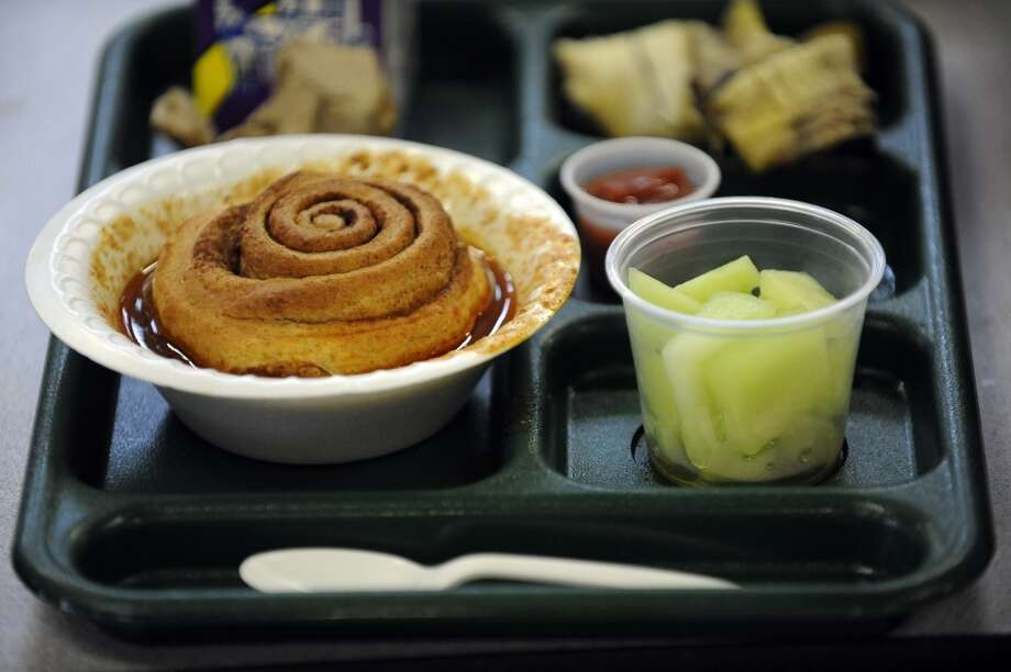 Garden chili and bread, ( a cinnamon roll) along with cut up melon was on the lunch menu at Fairview Elementary School on this day in 2011. Vegetable cups, Italian subs, and turkey chef salads were also available to the students. Andy Cross, The Denver Post  (Photo By Andy Cross/The Denver Post via Getty Images)
