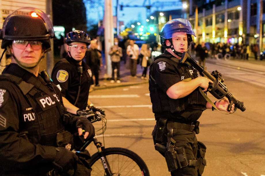 Police face off against demonstrators during a May Day protest in Seattle. Photo: JORDAN STEAD, SEATTLEPI.COM / SEATTLEPI.COM