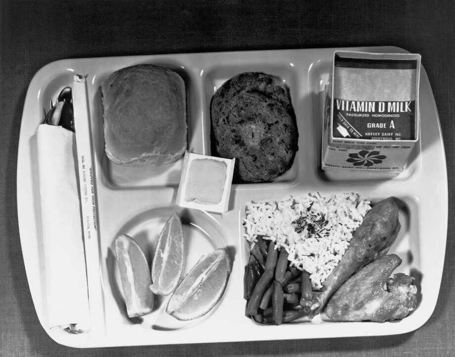 A Type A school lunch as specified by the Department of Agriculture, with a protein food, fruits, vegetables, bread and butter, and milk, Washington DC, June 1, 1966.. (Photo by Underwood Archives/Getty Images)