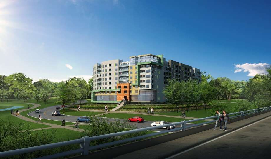 A rendering of a new apartment complex that could replace the aging Skylane Central.