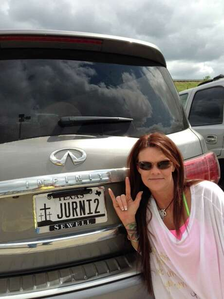 "Christel Burmaster of Tomball's license plate - JURNI2 - stands for ""journey to Calvary."""