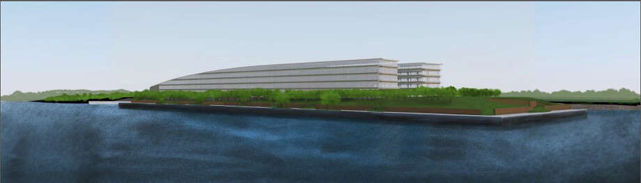 Architectural rendering showing the proposed 850,000-square-foot office building to house hedge fund Bridgewater Associates on the 14-acre site of a former boatyard in Stamford's South End. Photo: Contributed Photo